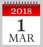 1er mars 2018 - d'abord de mars - calendrier quotidien illustration stock