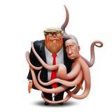 1er mars 2018 : Le portrait personnel de Donald Trump dans les bras du poulpe Vladimir Putin illustration 3D Image stock