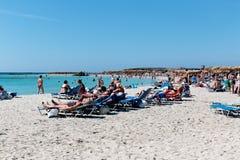 1er octobre 2017, Elafonissi, plage de la Grèce - de l'Elafonissi Images libres de droits