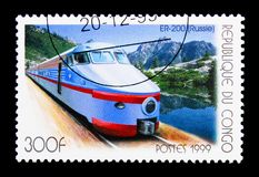 ER-200 (Russia), Electric locomotives serie, circa 1999. MOSCOW, RUSSIA - NOVEMBER 25, 2017: A stamp printed in Congo shows ER-200 (Russia), Electric locomotives stock photos