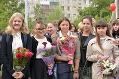 1er septembre, jour de la connaissance à l'école russe Photographie stock libre de droits