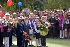 1er septembre, jour de la connaissance à l'école russe Photos stock