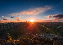 14er Summit Sunset. The summit of Mount Bierstadt looking towards Gray and Torreys Peak at sunset Royalty Free Stock Image