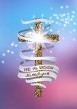 Er wird gestiegen und Hallelujavektorhintergrund mit strukturiertem Kreuz und langem Band Lizenzfreies Stockfoto