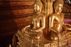 Er zijn vier kleine standbeelden van Boedha in de tempel Phumin Nan, Royalty-vrije Stock Fotografie
