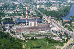 Zeran power station in Warsaw - aerial view Royalty Free Stock Photo