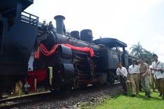 Era för järnväg lokomotiv för historikerånga av ansträngning Arkivfoton