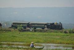 Era för järnväg lokomotiv för historikerånga av ansträngning Arkivbild