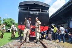 Era för järnväg lokomotiv för historikerånga av ansträngning Arkivbilder