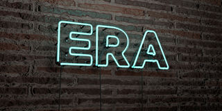 ERA -Realistic Neon Sign on Brick Wall background - 3D rendered royalty free stock image Stock Photo