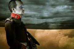 Era soldier over desert background Stock Photography