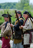 1700 era Trappers with weapons stock image