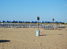 Eraclea beach in Italy. Eraclea beach, town in the province of Venice, the beach is empty, early in the morning Stock Photography
