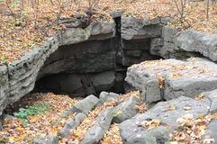 Eramosa Karst Conservation Area - October 26, 2014. Entrance to the Nexus Cave. The other large cave system in the Karst Stock Photo