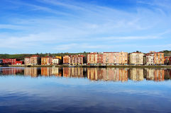 Erandio houses with Nervion river reflections. Basque Country stock images