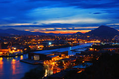 Erandio at night. Basque Country stock image