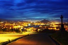Erandio på natten från trescruces Arkivfoto