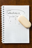 Erase all the weaknesses. Notebook and eraser on the table, erasing in action royalty free stock photo