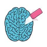 Erase brain illustration. Erase memories Stock Images