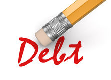 Erase Debt (clipping path included) Royalty Free Stock Image