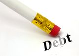 Erase debt. Concept of erasing debt, with a white pencil to allow personalised logos/text Stock Photography