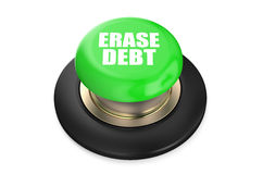 Erase Debt green push button Stock Photo