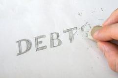 Erase debts with eraser. Erase debts written on paper with eraser Stock Photos