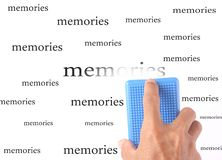Erase memories. Photo cropped hand with board duster and erase memories stock photo