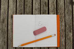Erase in notebook Royalty Free Stock Photo