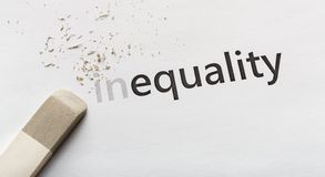 Erase part In in word Inequality on white background. Equality concept. Erase part In in word Inequality on white background, panorama stock image