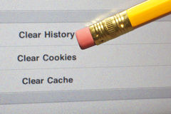 Erase Web History. An eraser pointing to a clear internet history options on a computer screen Royalty Free Stock Photo