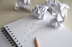 Erase The Words Idea with Crumpled Paper on Desk Stock Images