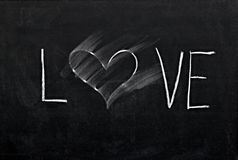 Erased heart on chalkboard. Smudge erased heart on chalkboard Stock Images