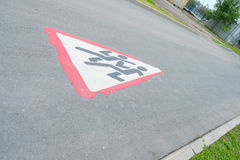 Erased the road sign. On the pavement royalty free stock image