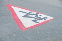Erased the road sign. On the pavement royalty free stock photo