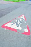 Erased the road sign. On the pavement stock image