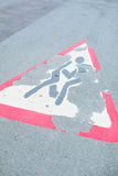 Erased the road sign. On the pavement royalty free stock images