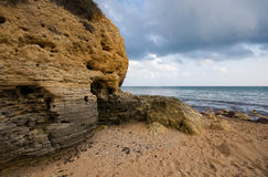 Erased rocks. Scenic landscape with erased rocks on a Atlantic coast in Algarve, Portugal stock photo