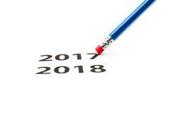 eraser blanc au moment de l'exécution d'isolement par concept de fond L'an neuf vient Image libre de droits