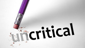 Eraser changing the word Uncritical for Critical Stock Photography