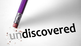 Eraser changing the word Undiscovered for Discovered Stock Images