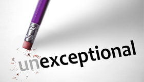 Eraser changing the word Unexceptional for Exceptional Stock Images