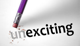 Eraser changing the word Unexciting for Exciting Stock Image