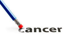 Eraser deleting the word Cancer. Cancer concept Royalty Free Stock Image