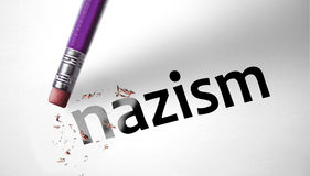 Eraser deleting the word Nazism stock photography