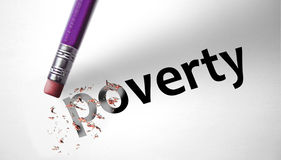 Eraser deleting the word Poverty.  Stock Photo