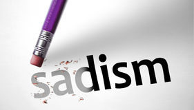 Eraser deleting the word Sadism Stock Photo