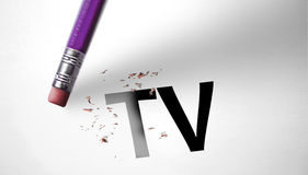 Eraser deleting the word TV.  Stock Photo