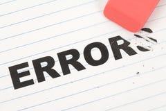 Eraser ed errore di parola Fotografia Stock Libera da Diritti