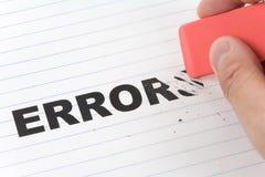 Eraser ed errore di parola immagine stock